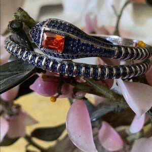 Vintage 925 ruby sapphire snake bracelet